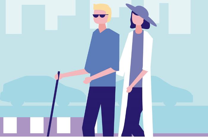 Σκίτσο: τυφλός άνδρας με μπαστούνι και τον κρατάει μια γυναίκα
