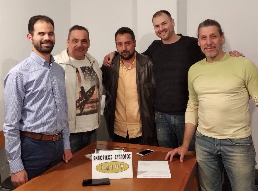 Ο Βαγγέλης Αυγουλάς με τον Κώστα Κάβουρα με αντιπροσωπεία του εμπορικού Συλλόγου